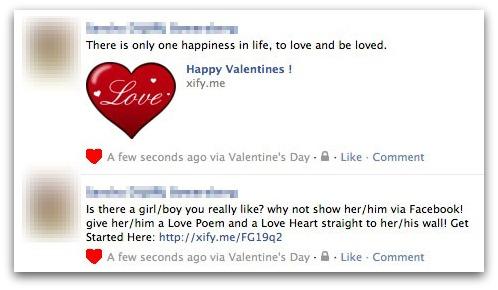 valentine message1 Facebook Valentines Day Scam