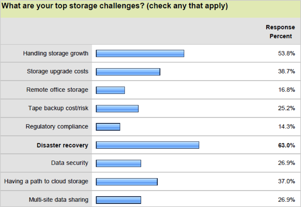 top storage challenges How Businesses are and will be using Cloud Storage   Survey
